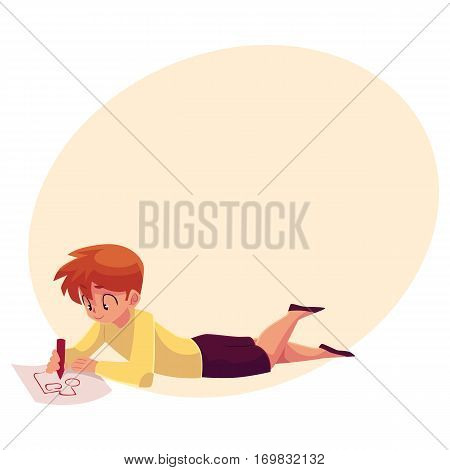 Little boy lying on the floor and drawing car, truck with a pencil, cartoon vector on background with place for text. Teenage boy drawing car with a red pencil lying on the floor and enjoying process