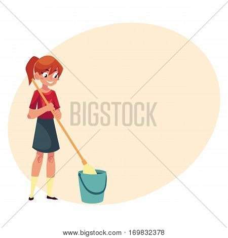Teenage girl helping to clean the house, washing floors with a mop, cartoon vector illustration with place for text. Girl cleaning home with mop and water