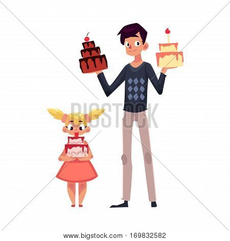Father and daughter holding birthday cakes, getting ready for party, cartoon vector illustration isolated on white background. Young man and his little daughter choosing birthday cake