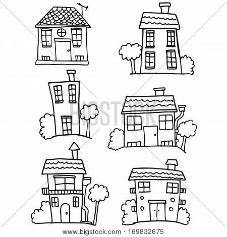 Colletion of house set hand draw vector illustration