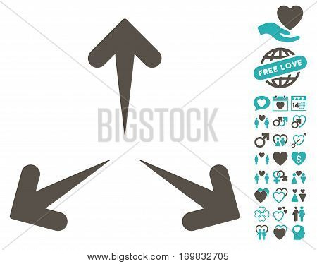 Expand Arrows icon with bonus valentine graphic icons. Vector illustration style is flat rounded iconic grey and cyan symbols on white background.