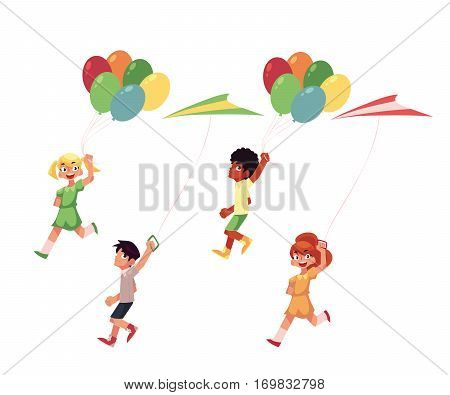 Kids, boys and girls, running with colorful kites and balloons, cartoon vector illustration isolated on white background. Set of kids, children running with kites and balloons flying in the sky