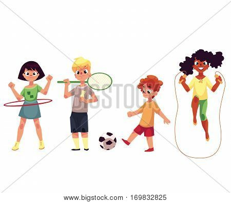 Kids twirling hula hoop, playing badminton and soccer, jumping over rope, cartoon vector illustration isolated on white background. Kids, children playing outside, summer activities, sport, playground
