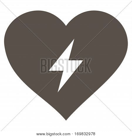 Heart Power flat icon. Vector grey symbol. Pictograph is isolated on a white background. Trendy flat style illustration for web site design, logo, ads, apps, user interface.