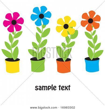 Flower pots. Vector card.