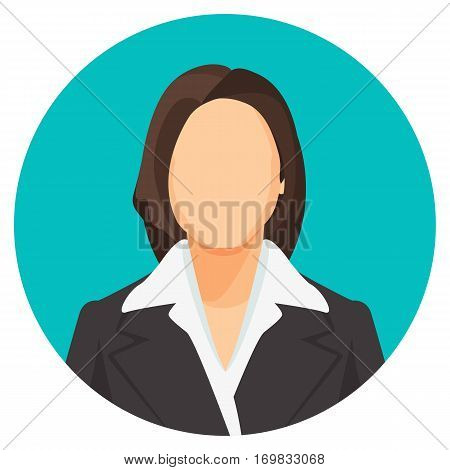 Avatar businesswoman portrait in circle. Vector user pic of smiling women of european wearing dark suits with shirts, with loose and plait hair