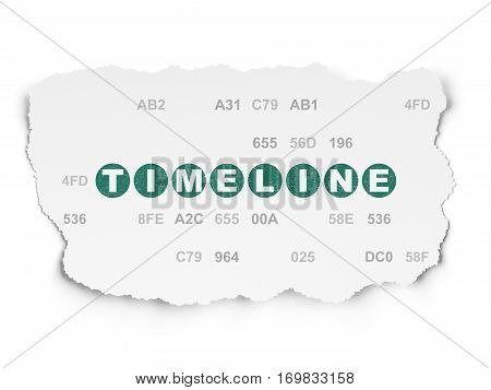 Timeline concept: Painted green text Timeline on Torn Paper background with  Hexadecimal Code