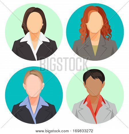 Avatar businesswoman portraits in four circles. Vector user pics of women of european and african nationalities wearing light and dark suits with shirts, with loose and plait hair