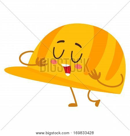 Funny builder hard hat, head protector, plastic helmet, cartoon vector illustration isolated on white background. Comic style hardhat, personal protective cap, helmet, hard hat