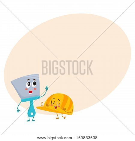 Funny hand trowel pointing up and helmet, hard hat, building, repair tool characters, cartoon vector on background with place for text. Comic style trowel character and orange helmet, hardhat