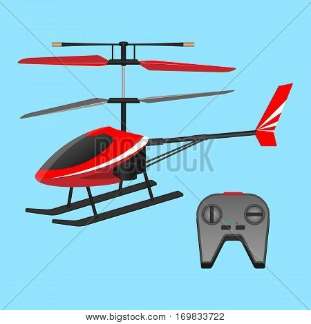 Helicopter with remote control isolated on blue background. Red helicopter plaything and black small control panel with buttons. Vector toy collection of flying transport in realistic flat design