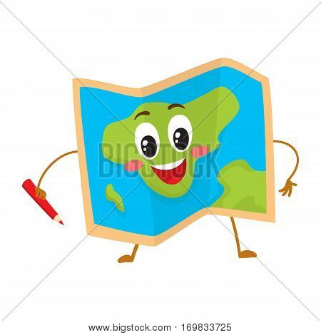 Folding geographical map funny character with a red pencil, travelling concept, cartoon vector illustration isolated on white background. Pocket geographical map funny character, mascot
