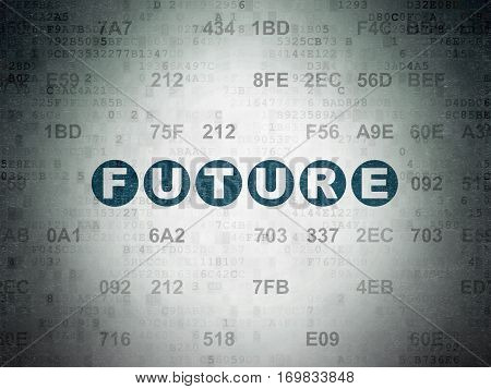 Time concept: Painted blue text Future on Digital Data Paper background with Hexadecimal Code