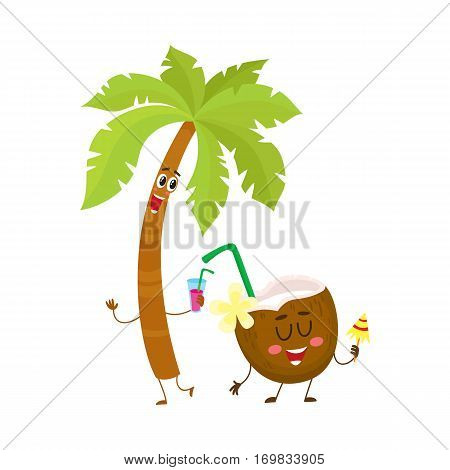 Funny palm tree and coconut characters, travelling, summer vacation symbol, cartoon vector illustration isolated on white background. Palm tree and coconut characters, mascots, holiday concept