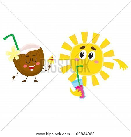 Cute and funny coconut and sun characters talking, drinking cocktails, having fun, cartoon vector illustration isolated on white background. Coconut cocktail and sun characters enjoying vacation