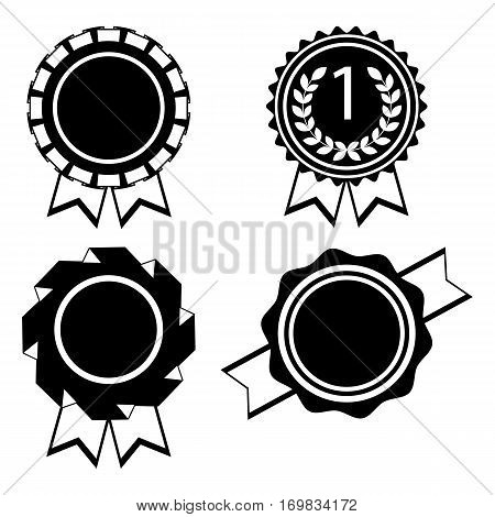 Award golden round signs silhouettes collection on white. Elements for awarding winners by sticking them to clothes. Vector poster of medals with wavy ribbons around and two hanging pieces in flat design