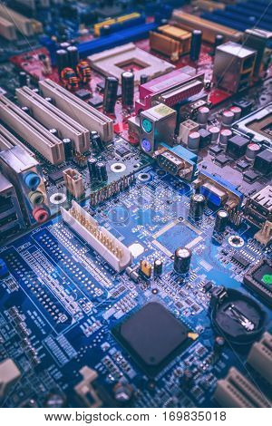 Many circuit board with electronic components, close up