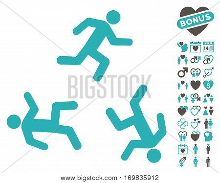 Running Men icon with bonus love graphic icons. Vector illustration style is flat rounded iconic grey and cyan symbols on white background.