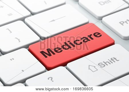 Medicine concept: computer keyboard with word Medicare, selected focus on enter button background, 3D rendering