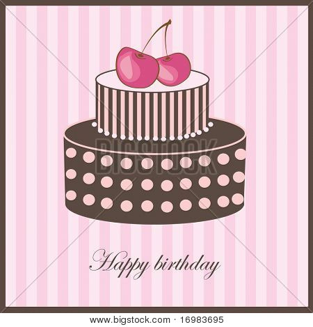 Birthday card with cherry cake