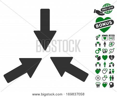 Collide 3 Arrows pictograph with bonus amour icon set. Vector illustration style is flat rounded iconic green and gray symbols on white background.