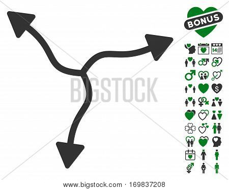 Curve Arrows pictograph with bonus passion pictures. Vector illustration style is flat rounded iconic green and gray symbols on white background.