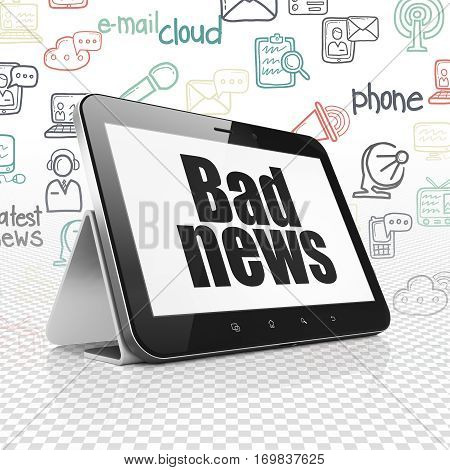 News concept: Tablet Computer with  black text Bad News on display,  Hand Drawn News Icons background, 3D rendering