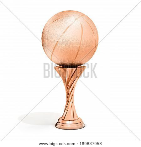Bronze Trophy With Basket  Ball
