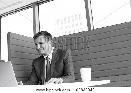 Smiling mature businessman using laptop at desk