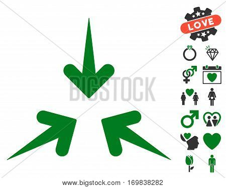 Impact Arrows icon with bonus lovely images. Vector illustration style is flat rounded iconic green and gray symbols on white background.