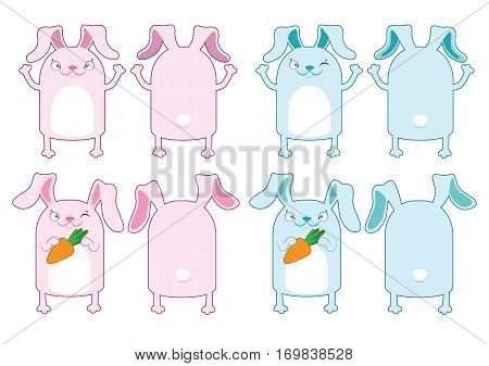 The Easter Bunny. Pink And Blue Bunny With Carrot