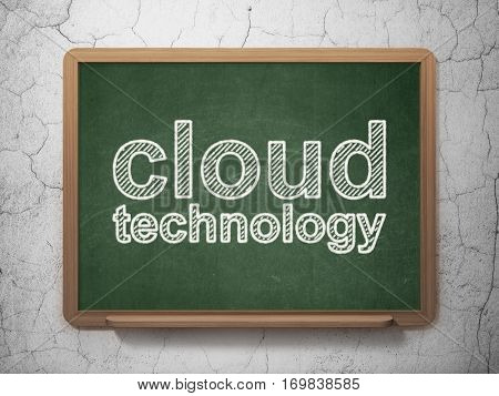 Cloud computing concept: text Cloud Technology on Green chalkboard on grunge wall background, 3D rendering