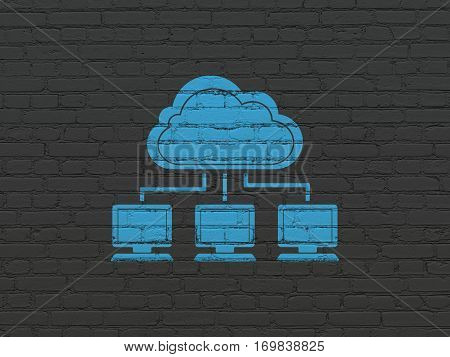 Cloud computing concept: Painted blue Cloud Network icon on Black Brick wall background