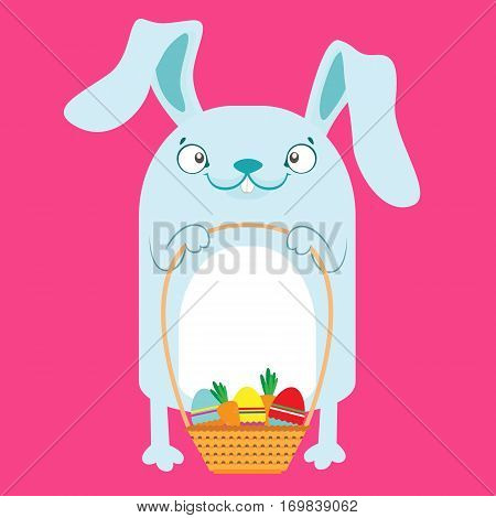 Bunny With Easter Baskets With Eggs.
