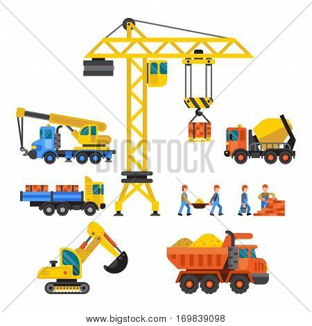 Building under construction, workers vector illustration. Mixer truck crane machine isolated. Machinery material occupation heavy industry.