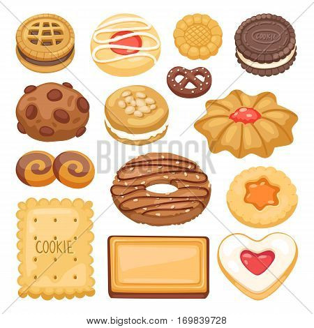 Different cookie cakes isolated vector set illustration