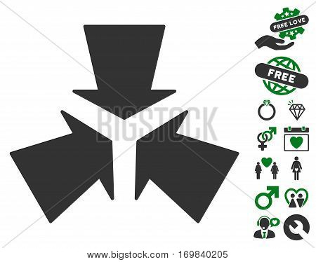 Shrink Arrows icon with bonus romantic design elements. Vector illustration style is flat rounded iconic green and gray symbols on white background.