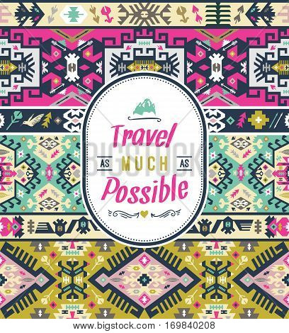 Art aztec colorful pattern for wallpaper, cloth design, textile