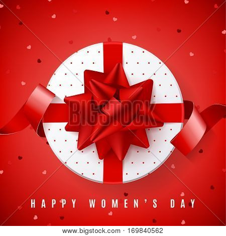 Red background for Happy Women's Day. Top view on white gift box with red bow. Vector illustration with satin ribbon and confetti.