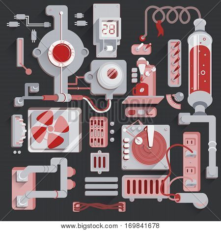 Machine mechanical parts background. Steampunk Illustration of Multiple elements Connected by wires and pipes. Vector background
