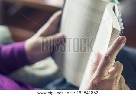 Old Woman Reading Book At Comfy Home