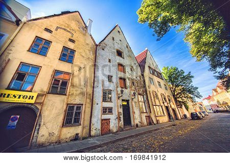 TALLINN ESTONIA - JULE 29 2013: Medieval street of old town Tallinn in summer morning