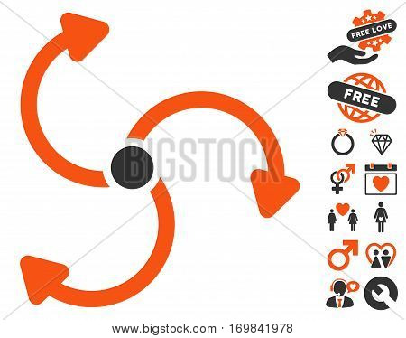 Fan Rotation pictograph with bonus love design elements. Vector illustration style is flat rounded iconic orange and gray symbols on white background.