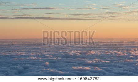 Clouds seen from the top of Haleakala crater at sunrise - Maui, Hawaii, USA