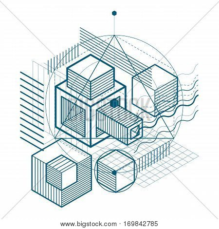 Isometric abstract background with linear dimensional shapes vector 3d mesh elements. Composition of cubes hexagons squares rectangles and different abstract elements.