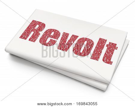 Political concept: Pixelated red text Revolt on Blank Newspaper background, 3D rendering