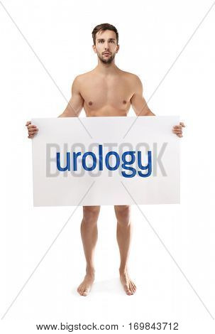 Man holding banner with word UROLOGY on white background. Health care concept.