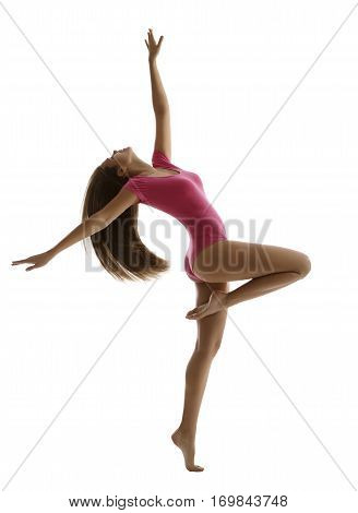Woman Sport Dancing Girl Fitness Dancer Isolated over White Young Slim Gymnast in Dance