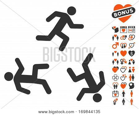 Running Men icon with bonus decoration images. Vector illustration style is flat rounded iconic orange and gray symbols on white background.