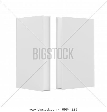 Blank two book covers on white background. 3d rendering